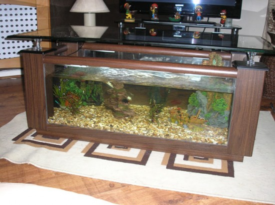 Rosewood coffee table fish tank
