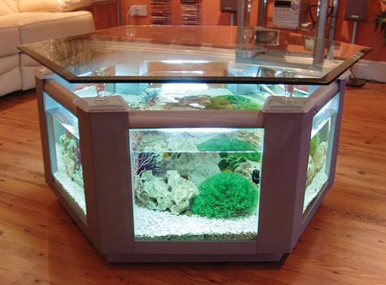 Hexagonal large coffee table fish tank