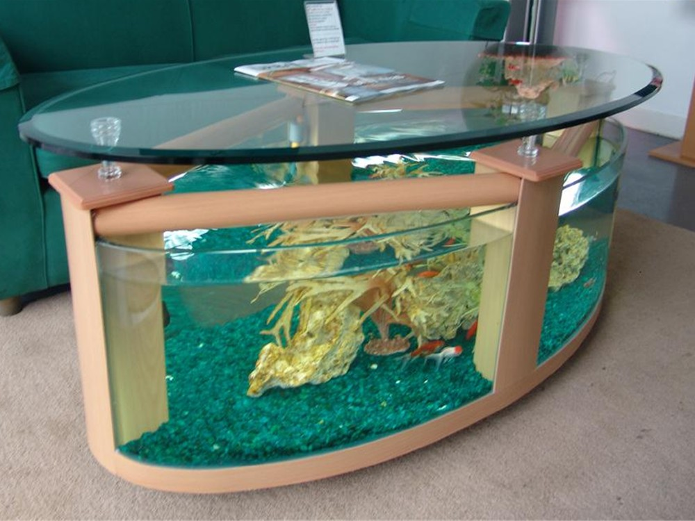 Large Oval Coffee Table Aquarium Glass Fish Tanks