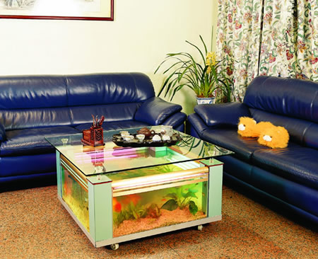Rectangular white coffee table fish tank