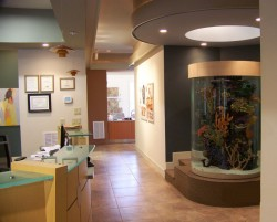 Large cylindrical aquarium in an orthodontic office.